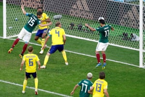 Mexico's Carlos Vela misses a chance to score.