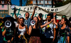 Young climate protesters in Lisbon, Portugal