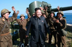 Kim Jong-un touring a military outpost on Ung Islet in the Sea of Japan, which North Korea calls the East Sea.