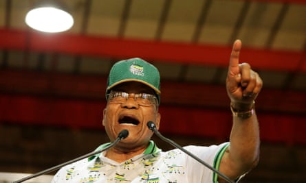 Jacob Zuma sings on stage during an ANC conference in Johannesburg this month.