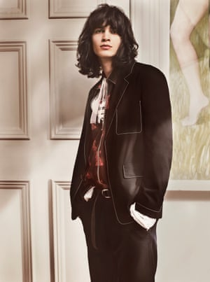 Jacket, £1,495, shirt, £680, jersey, £355, trousers, £515, and belt, £105, by Prada.