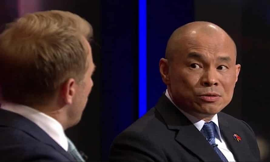 China's deputy ambassador to Australia Wang Xining responding to a question from Q&A host Hamish Macdonald.