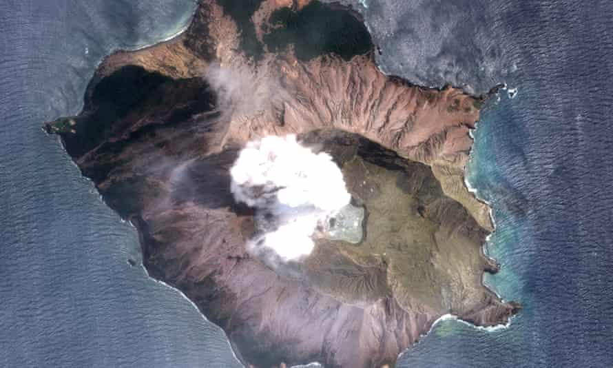 A satellite photo of the White Island (Whakaari) volcano one day after erupting, in New Zealand, 11 December 2019.
