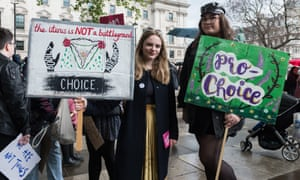 Pro-choice protesters in Parliament Square earlier this year campaigning for women's reproductive rights and the legalisation of abortion in Northern Ireland