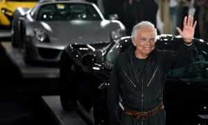 Ralph Lauren waves to the show's 300 guests