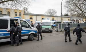 Police outside a mosque in Frankfurt