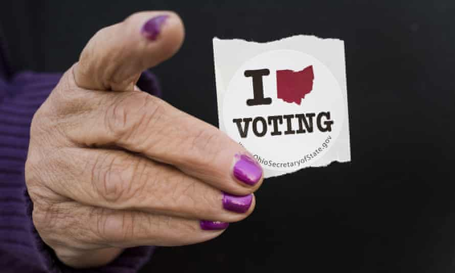 A voter in Ohio. Trump won the election by just 80,000 votes spread across three swing states.