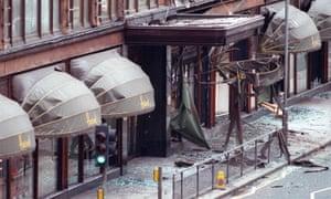 Damage following an IRA bomb outside Harrods, 1983.