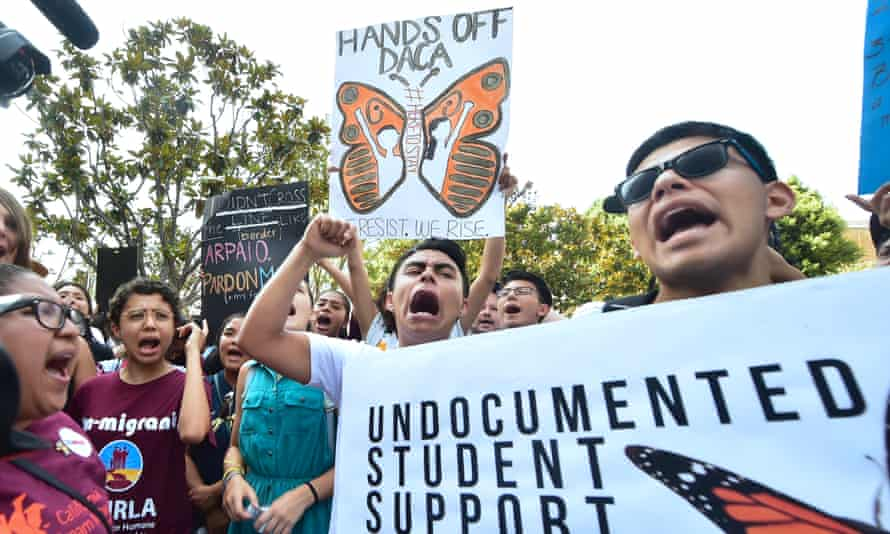 A protest against the plan to end Daca in Los Angeles, California .