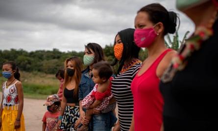 Guarani women and children in Rio de Janeiro state, Brazil