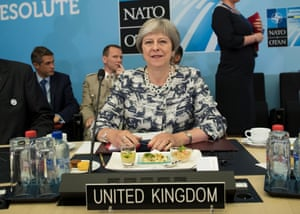 Theresa May during the Nato summit in Brussels.