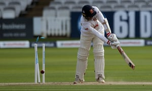 Essex's Jamie Porter is bowled out by Somerset's Lewis Gregory.