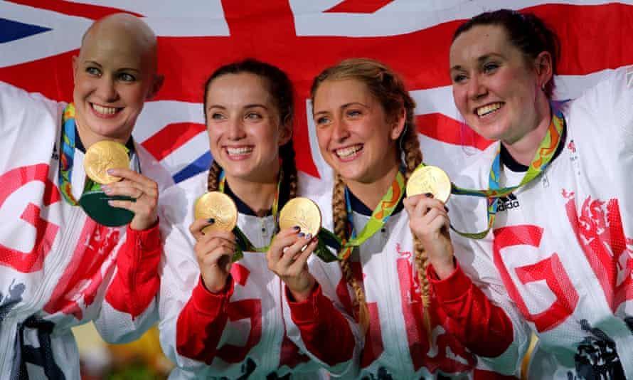 Team GB's Joanna Rowsell Shand, Elinor Barker, Laura Trott and Katie Archibald celebrate following their gold medal in the women's team pursuit at the Rio Olympics.