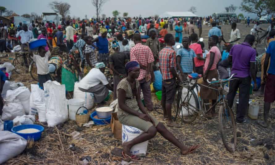 Refugees gather at a settlement in Palorinya, northern Uganda