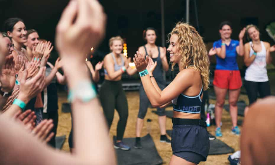 Fitness class in action at Love Fit festival, St Clere Estate, Sevenoaks, Kent, UK.
