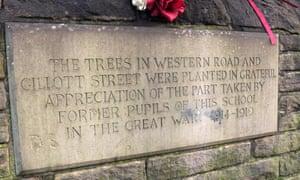 The war memorial on Westways school wall, Sheffield.