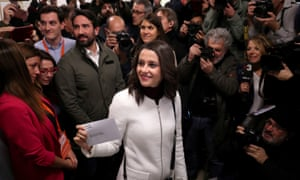 Ines Arrimadas, leader of Ciudadanos in Catalonia, votes at a polling station in Barcelona