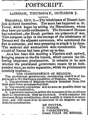 The Guardian, 9 octobre 1830.