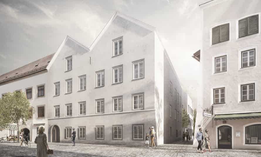 An illustration by architects Marte.Marte showing how  Adolf Hitler's former house in Braunau am Inn in Austria will look.