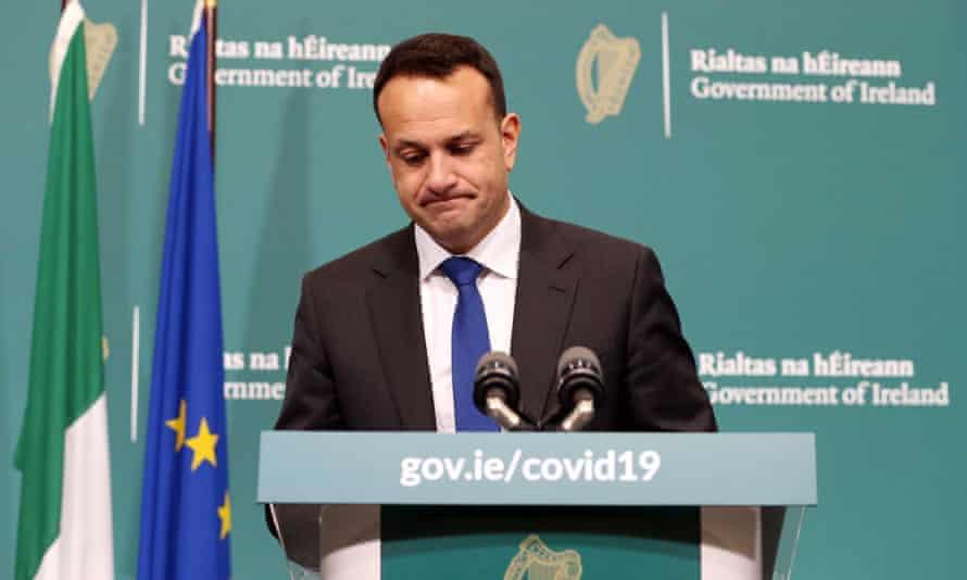 Taoiseach Leo Varadkar at the Government Buildings for a coronavirus press briefing