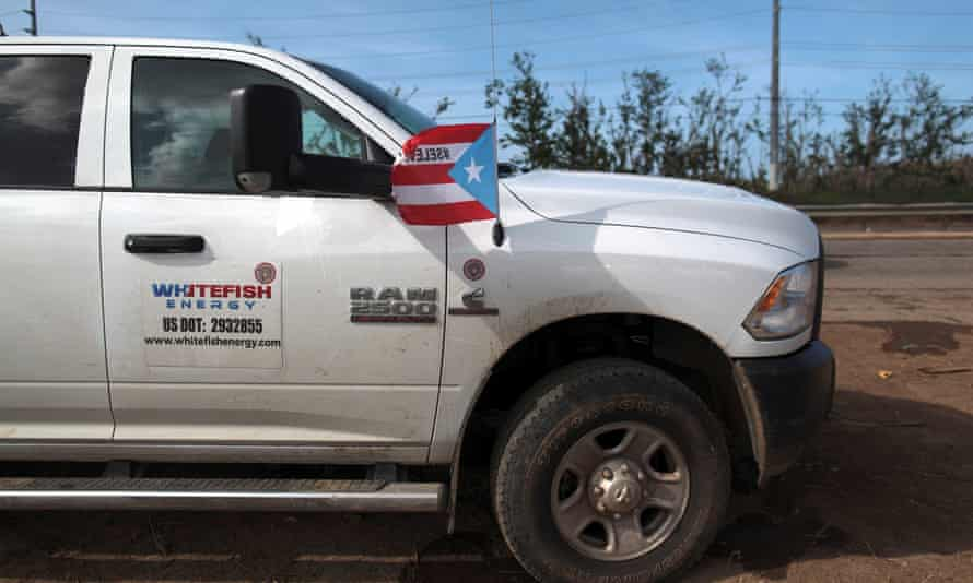 A Whitefish Energy pickup truck in Manati, Puerto Rico.