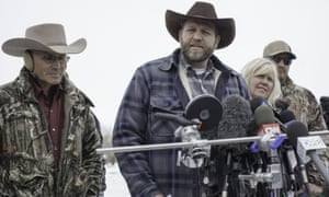 Ammon Bundy makes a statement to the press at the Malheur national wildlife refuge, at the beginning of the occupation.
