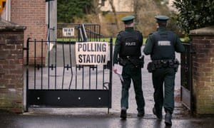 Police officers outside the South Belfast polling station