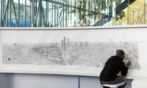 British artist Stephen Wiltshire draws a cityscape of Mexico
