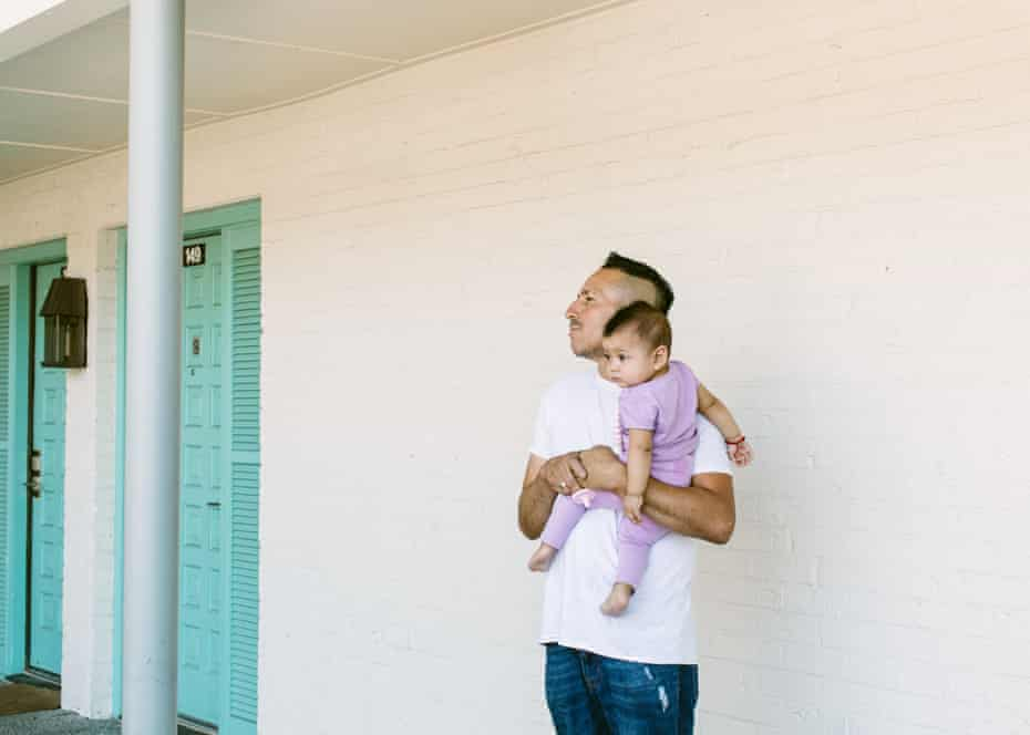 Simón Galvan and his family of five share a single hotel room.