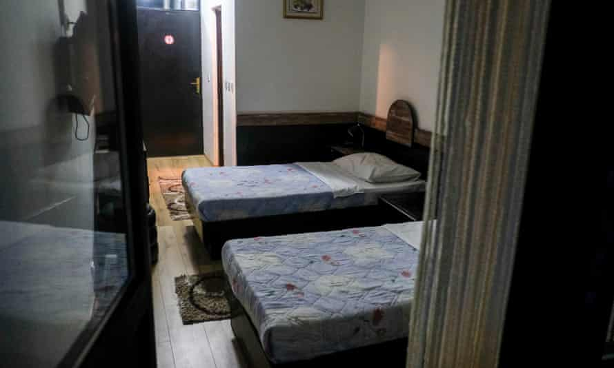 Vilina Vlas hotel in Visegrad, Bosnia with besd from 1992 used during rapes.