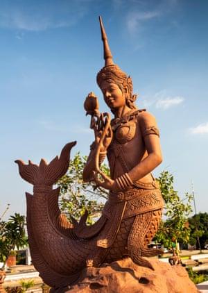 A statue of Suvannamaccha in Kampot, Cambodia.