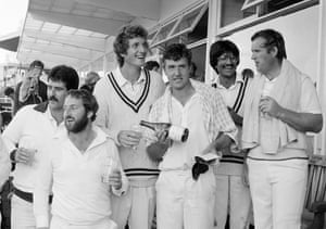 Warwickshire celebrate their victory over Yorkshire in the NatWest Trophy semi-final at Edgbaston in August 1982. Left-right: Anton Ferreira, Geoff Humpage, Bob Willis, David Smith, Asif Din and Dennis Amiss. David Smith, who scored 113 runs was the Man of the Match, and Warwickshire won by 7 wickets.