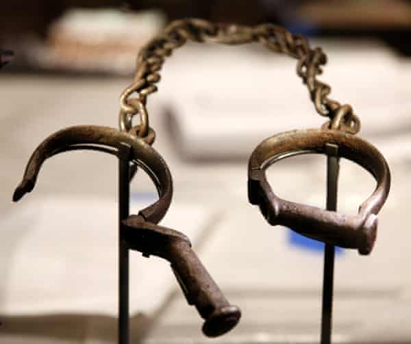Slave shackles on display at the museum.