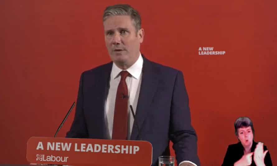 The Labour leader, Keir Starmer, makes a statement accepting all recommendations of the EHRC report