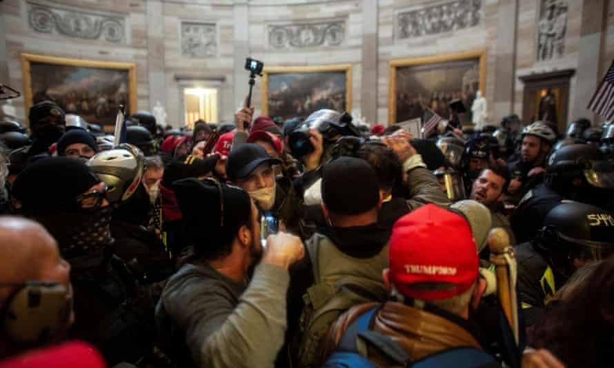 A mob of Trump supporters breaches the US Capitol.