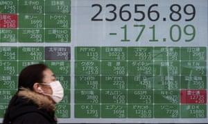 Masked pedestrian walks past Nikkei stock board