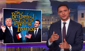 'Macron didn't fly across the Atlantic just to hang out. He came to Washington on a very specific mission: to stop Trump from doing something dumb'...Trevor Noah