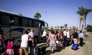 Stranded tourists outside the terminal at Sharm el-Sheikh airport.