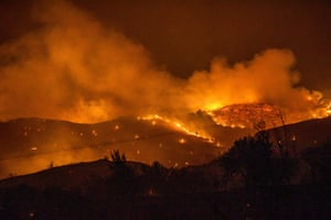 Trees burn in a forest on the slopes of the Troodos mountain chain, as a giant fire rages in Cyprus
