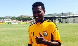 The Vanuatu goal machine Jean Kaltack after bagging 16 in the 46-0 win over Micronesia.