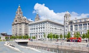 Pier head three graces buildings Liverpool waterfront Merseyside, UK