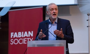 Jeremy Corbyn speaking at the Fabian Society conference.