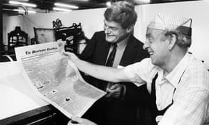 Peter Preston, when editor of the Guardian, watches an archive copy of the paper come off an ancient press.