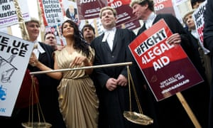 Barristers and lawyers protesting against planned cuts to legal aid in London last year.