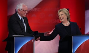 Democratic presidential candidates Hillary Clinton and Bernie Sanders in Durham, New Hampshire, February 4, 2016.