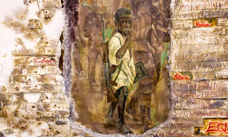 One of the paintings shows a child soldier holding an AK-47 and a copy of Gray's Anatomy