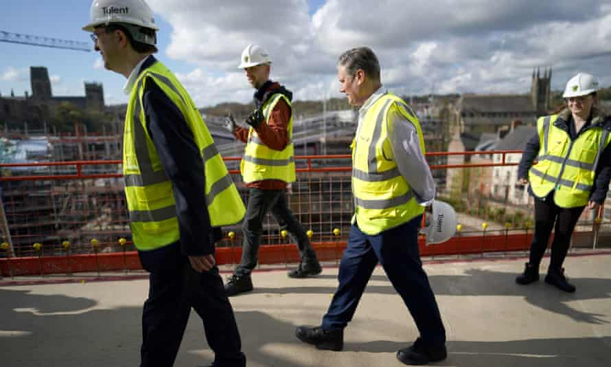 Keir Starmer visiting a social housing project in County Durham