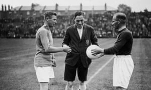 Arsenal FC players Kennedy and Blyth before a pre-season match on 13th August 1927 between the first and second teams at Highbury in which a white ball was tested as an alternative to the traditional brown leather kind.
