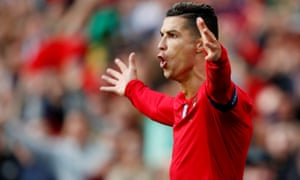 Portugal's Cristiano Ronaldo celebrates scoring his first goal on his way to a hat-trick.
