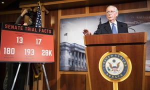 Mitch McConnell holds a press conference after the Senate voted to acquit Donald Trump in Washington DC, on 5 February.